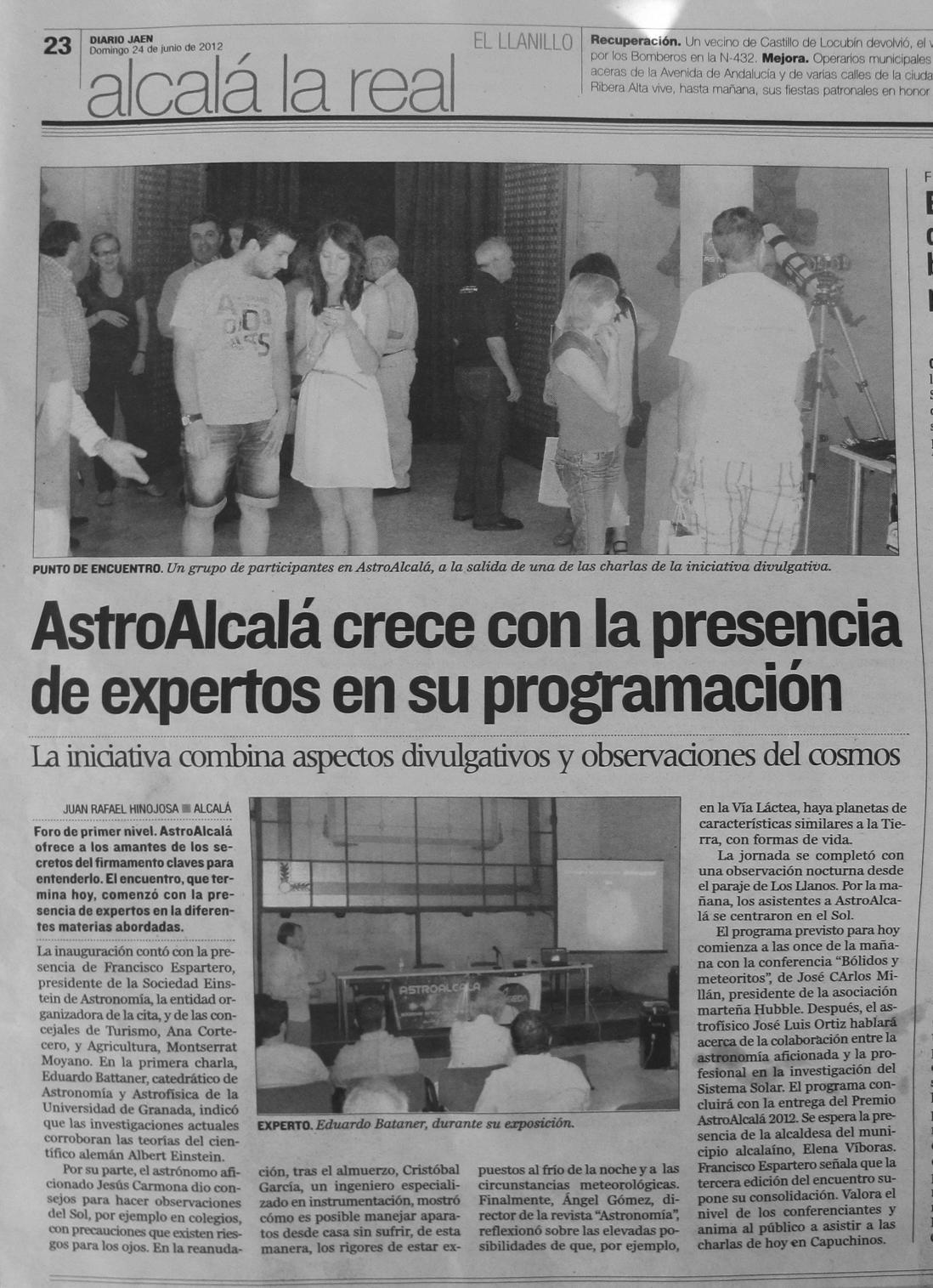 Nota de prensa diario Jaén - AstroAlcalá 2012