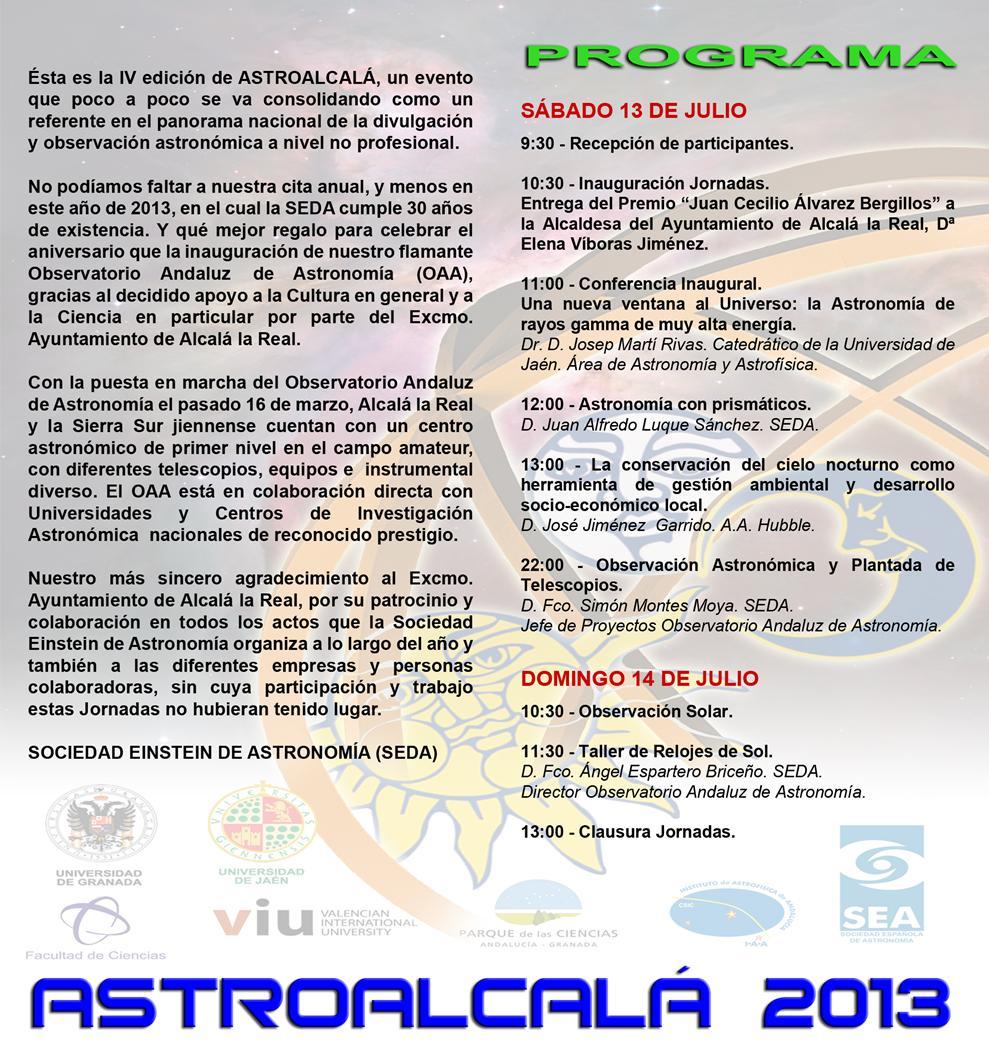 Programa AstroAlcalá 2013